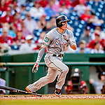 26 September 2018: Miami Marlins first baseman Derek Dietrich singles in the 4th inning against the Washington Nationals at Nationals Park in Washington, DC. The Nationals defeated the visiting Marlins 9-3, closing out Washington's 2018 home season. Mandatory Credit: Ed Wolfstein Photo *** RAW (NEF) Image File Available ***