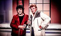 Johnny HALLYDAY et Julien Clerc<br /> 1984<br /> © ROUGET / PB- DALLE