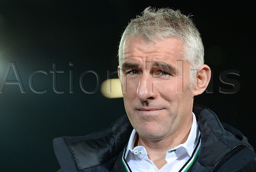 08.11.2013. Hanover, Germany.  Hanover's coach Mirko Slomka captured with a wry smile during the Bundesliga soccer match between Hannover 96 and Eintracht Braunschweig in Hanover, Germany, 8 November 2013.