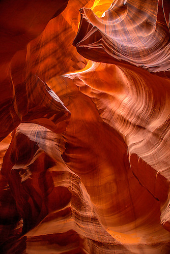 Smooth shapes of sandstone formed through erosion are prevalent at Upper Antelope Canyon near Page, Arizona