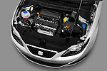 High angle engine detail of 2010 Seat Ibiza ST 5 Door Wagon Stock Photo