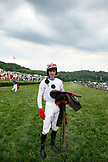 USA, Tennessee, Nashville, Iroquois Steeplechase, the winning jockey Brian Crowley after the final race
