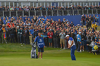 Sergio Garcia (Team Europe) chips on to 17 during Sunday's singles of the 2018 Ryder Cup, Le Golf National, Guyancourt, France. 9/30/2018.<br /> Picture: Golffile | Ken Murray<br /> <br /> <br /> All photo usage must carry mandatory copyright credit (© Golffile | Ken Murray)