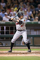 Phil Gosselin (49) of the Indianapolis Indians at bat against the Charlotte Knights at BB&T BallPark on June 16, 2017 in Charlotte, North Carolina.  The Knights defeated the Indians 12-4.  (Brian Westerholt/Four Seam Images)