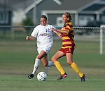 BROOKINGS, SD - AUGUST 23:  Dani Patterson #12 from South Dakota State University battles for the ball with Koree Willer #2 from Iowa State in the first half of their game Friday evening at Fischback Soccer Field in Brookings. (Photo by Dave Eggen/Inertia)