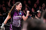 CLAYTON, MO - APRIL 14: Jessica Mellott #9 of McKendree University reacts after a strike during the Division I Women's Bowling Championship held at Tropicana Lanes on April 14, 2018 in Clayton, Missouri. Vanderbilt University defeated McKendree University 4-3. (Photo by Tim Nwachukwu/NCAA Photos via Getty Images)