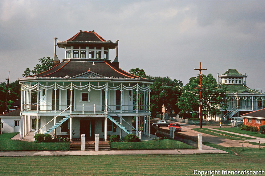 "New Orleans:  Doullut Houses, 1 & 2.  400 Egania (1905) 503 Egania (1913). Capt. Milton Doullut built these 2 Gothic Victorian ""steamboat"" houses--#400 for himself and #503 for his son. Note: survived Katrina.  Pagoda style roof."