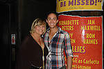 Kim Zimmer posed with Matthew deGuzman who is in Follies and was in Curtain with Kim on Sept. 17. 2011 at the Marquis Theater, New York City, New York.  (Photo by Sue Coflin/Max Photos)