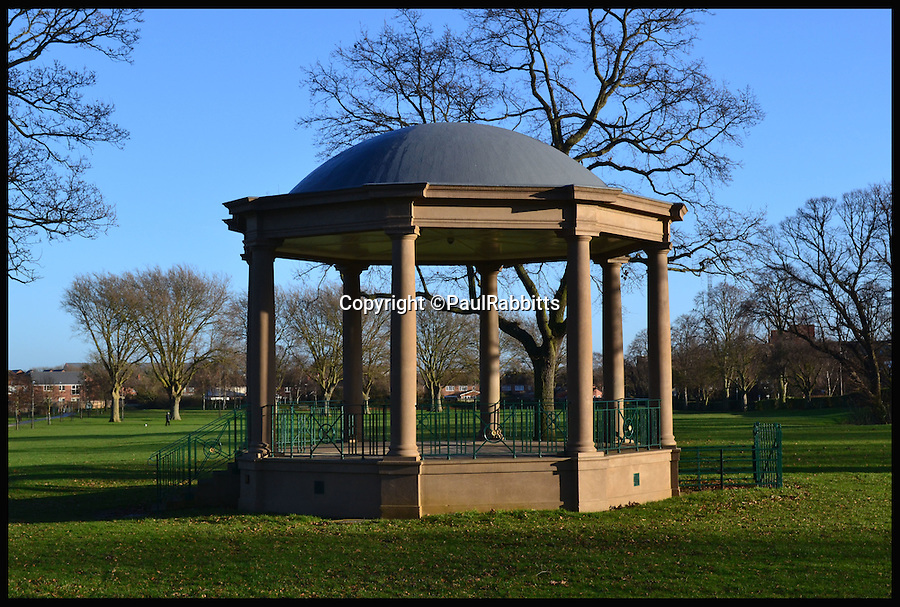 BNPS.co.uk (01202 558833)<br /> Pic: PaulRabbitts/BNPS<br /> <br /> ***Please Use Full Byline***<br /> <br /> The bandstand in Castle Fields, Wellingborough, was built in 1913 and still exists today. <br /> <br /> A landscape gardener is trumpeting the great British creation of the bandstand after touring the country's parks to study the iconic structures for a new book.<br /> <br /> Paul Rabbitts' work is a celebration of the Victorian platforms and a throwback to the halycon days of outdoor music when thousands of people would gather in public parks for a brass band performance.