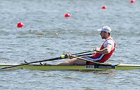 Brandenburg. GERMANY.<br /> BEL M1X. Hannes OBRENO,  ,  2016 European Rowing Championships at the Regattastrecke Beetzsee<br /> <br /> Saturday  07/05/2016<br /> <br /> [Mandatory Credit; Peter SPURRIER/Intersport-images]