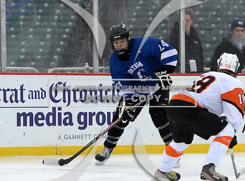 Batavia Blue Devils John Sallome (24) during a varsity ice hockey game against the Churchville-Chil Saints during the Section V Rivalry portion of the Frozen Frontier outdoor hockey event at Frontier Field on December 22, 2013 in Rochester, New York.  (Copyright Mike Janes Photography)