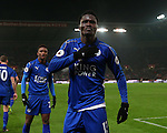 Daniel Amartey of Leicester City celebrates scoring the equalising goal during the English Premier League match at the Bet 365 Stadium, Stoke on Trent. Picture date: December 17th, 2016. Pic Simon Bellis/Sportimage