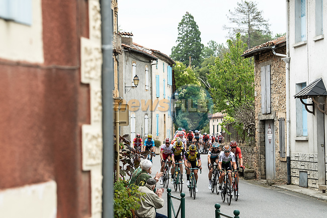The 42 man breakaway group in action during Stage 12 of the 2019 Tour de France running 209.5km from Toulouse to Bagneres-de-Bigorre, France. 18th July 2019.<br /> Picture: ASO/Alex Broadway | Cyclefile<br /> All photos usage must carry mandatory copyright credit (© Cyclefile | ASO/Alex Broadway)