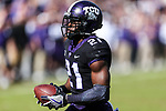 TCU Horned Frogs running back Kyle Hicks (21) in action during the game between the Baylor Bears and the TCU Horned Frogs at the Amon G. Carter Stadium in Fort Worth, Texas.