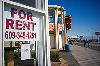 ATLANTIC CITY, NJ - OCTOBER 18:  A poster for rent is seen at the board walk in Atlantic City  on October 18, 2019 in New Jersey.  Atlantic City has seen a resurgence, to its improved economy thanks to the launch of online gambling in the state. Sports betting, which kicked off last year, has also given the gaming industry a positive jolt. local media informed. (Photo by Eduardo MunozAlvarez/VIEWpress)
