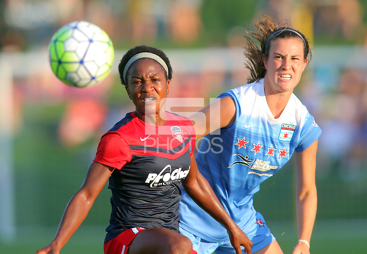 Boyds, MD - Saturday July 09, 2016: Francisca Ordega, Katie Naughton during a regular season National Women's Soccer League (NWSL) match between the Washington Spirit and the Chicago Red Stars at Maureen Hendricks Field, Maryland SoccerPlex.