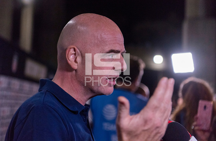 PASADENA, CA - AUGUST 4: Gianni Infantino talks to the media during a game between Ireland and USWNT at Rose Bowl on August 3, 2019 in Pasadena, California.