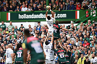 Taulupe Faletau of Bath Rugby wins the ball at a lineout. Aviva Premiership match, between Leicester Tigers and Bath Rugby on September 3, 2017 at Welford Road in Leicester, England. Photo by: Patrick Khachfe / Onside Images