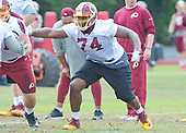 Washington Redskins offensive guard Arie Kouandjio (74) participates in an organized team activity (OTA) at Redskins Park in Ashburn, Virginia on Wednesday, June 1, 2016.<br /> Credit: Ron Sachs / CNP