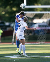 In a National Women's Soccer League Elite (NWSL) match, the Boston Breakers defeated the FC Kansas City, 1-0, at Dilboy Stadium on August 10, 2013.  Boston Breakers forward Sydney Leroux (2) and FC Kansas City defender Merritt Mathias (9) compete for a head ball.