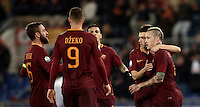 Calcio, ottavi di finale di Tim Cup: Roma vs Sampdoria. Roma, stadio Olimpico, 19 gennaio 2017.<br /> Roma&rsquo;s Radja Nainggolan, right, celebrates with teammates after scoring during the Italian Cup round of 16 football match between Roma and Sampdoria at Rome's Olympic stadium, 19 January 2017.<br /> UPDATE IMAGES PRESS/Isabella Bonotto