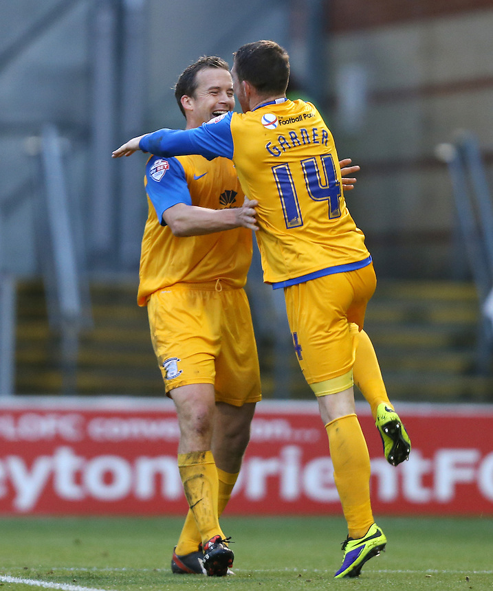 Joe Garner of Preston celebrates with Kevin Davies after scoring their 1st goal<br /> <br /> Photo by Rob Newell/CameraSport<br /> <br /> Football - The Football League Sky Bet League One - Leyton Orient v Preston North End - Saturday 16th November 2013 - Matchroom Stadium - London<br /> <br /> &copy; CameraSport - 43 Linden Ave. Countesthorpe. Leicester. England. LE8 5PG - Tel: +44 (0) 116 277 4147 - admin@camerasport.com - www.camerasport.com