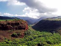 A view into Waimea Canyone, the Grand Canyon of the Hawaiian Island Chain. Located on the isle of Kauai
