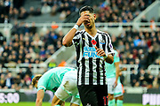 Ayoze Perez (#17) of Newcastle United reacts to missing an opportunity to extend Newcastle's advantage during the Premier League match between Newcastle United and Bournemouth at St. James's Park, Newcastle, England on 10 November 2018.