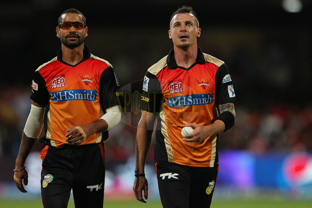 Shikhar Dhawan captain of the Sunrisers Hyderabad, and Dale Steyn of the Sunrisers Hyderabad watch the big screen after a missed opportunity to take the wicket of Chris Gayle of the Royal Challengers Bangalore during match 24 of the Pepsi Indian Premier League Season 2014 between the Royal Challengers Bangalore and the Sunrisers Hyderabad held at the M. Chinnaswamy Stadium, Bangalore, India on the 4th May  2014<br /> <br /> Photo by Ron Gaunt / IPL / SPORTZPICS<br /> <br /> <br /> <br /> Image use subject to terms and conditions which can be found here:  http://sportzpics.photoshelter.com/gallery/Pepsi-IPL-Image-terms-and-conditions/G00004VW1IVJ.gB0/C0000TScjhBM6ikg