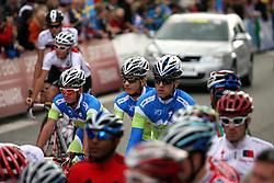 Jan Polanc, Klemen Stimulak and Mark Ðamastagic  at start during the Men´s Under 23 Road Race  on day five of the UCI Road World Championships on September 23, 2011 in Copenhagen, Denmark. (Photo by Marjan Kelner / Sportida Photo Agency)