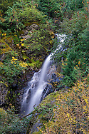 Berry Creek Falls and autumn foliage colors in North Cascades National Park, Washington State, USA