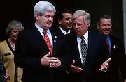 U.S. Congressman Newt Gingrich (l.) meeting Hong Kong Governor Chris Patten.