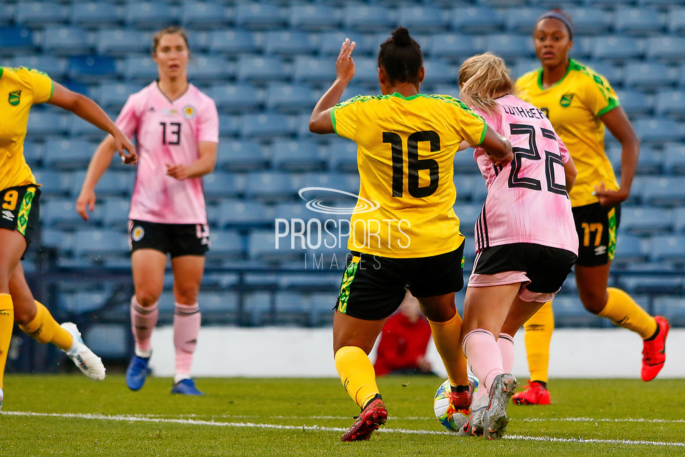 Scotlands Erin CUTHBERT (Chelsea FCW (ENG)) is brought down by Dominique BOND-FLASZA (PSV Eindhoven (NED)) on the edge of the box during the International Friendly match between Scotland Women and Jamaica Women at Hampden Park, Glasgow, United Kingdom on 28 May 2019.