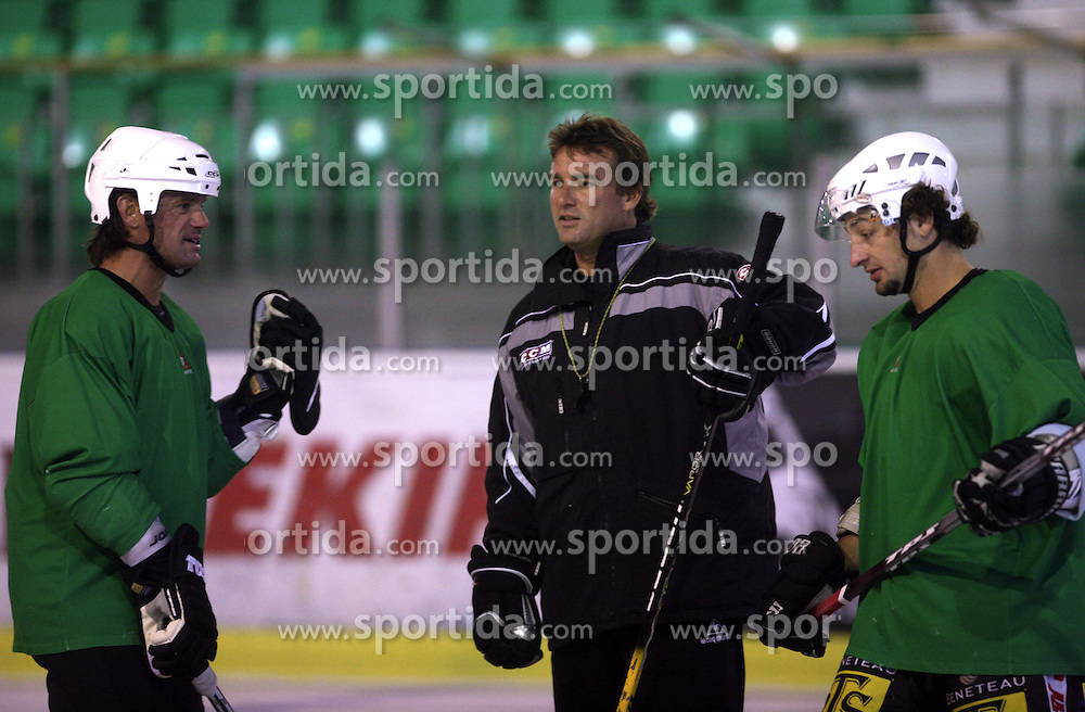 Player Todd Elik of Canada, head coach Mike Posma and Brendan Yarema at second ice hockey practice of HDD Tilia Olimpija on ice in the new season 2008/2009, on August 19, 2008 in Hala Tivoli, Ljubljana, Slovenia. (Photo by Vid Ponikvar / Sportal Images)