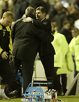 Photo: Aidan Ellis.<br /> Sheffield Wednesday v Cardiff City. Coca Cola Championship. 25/11/2006.<br /> Wednesday manager Brian Laws and Cardiff's David Jones shake hands at the end of the game after a draw
