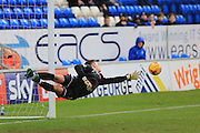 Ben Wilson flying save during the EFL Sky Bet League 1 match between Peterborough United and Rochdale at London Road, Peterborough, England on 25 February 2017. Photo by Daniel Youngs.