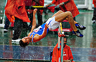 Italy's Marco Fassinotti competes during the men's high jump final at the 2010 European Athletics Championships at the Olympic Stadium in Barcelona on July 29, 2010.