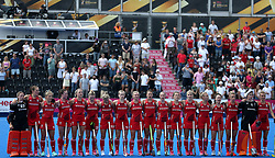 England players during the national anthem during the Vitality Women's Hockey World Cup pool B match at The Lee Valley Hockey and Tennis Centre, London.