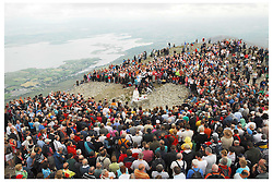 Archbishop of Tuam Michael Neary celebrating mass on the summit of Croagh Patrick the  mass was broadcast live on RTE and on the internet...Pic Conor McKeown.