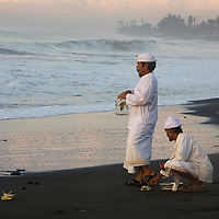 The Melasti Ceremony on Purnami Beach, Bali, Indonesia.
