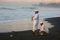The Melasti Ceremony on Purnami Beach, Bali, Indonesia.