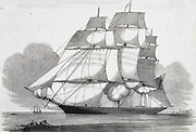 American tea clipper ship 'Witch of the Wave' in the River Thames, London, 1852.