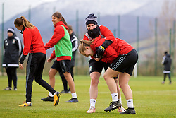 ZENICA, BOSNIA AND HERZEGOVINA - Monday, November 27, 2017: Wales' Helen Ward and Alice Griffiths during a training session ahead of the FIFA Women's World Cup 2019 Qualifying Round Group 1 match against Bosnia and Herzegovina at the FF BH Football Training Centre. (Pic by David Rawcliffe/Propaganda)