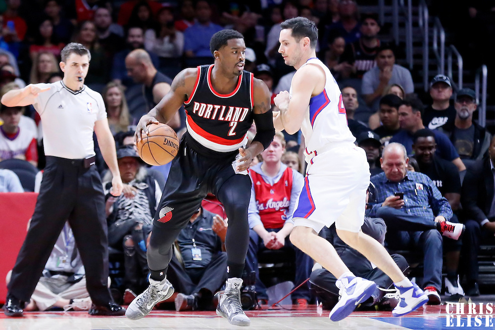 08 November 2014: Portland Trail Blazers guard Wesley Matthews (2) posts up Los Angeles Clippers guard J.J. Redick (4) during the Los Angeles Clippers 106-102 victory over the Portland Trail Blazers, at the Staples Center, Los Angeles, California, USA.