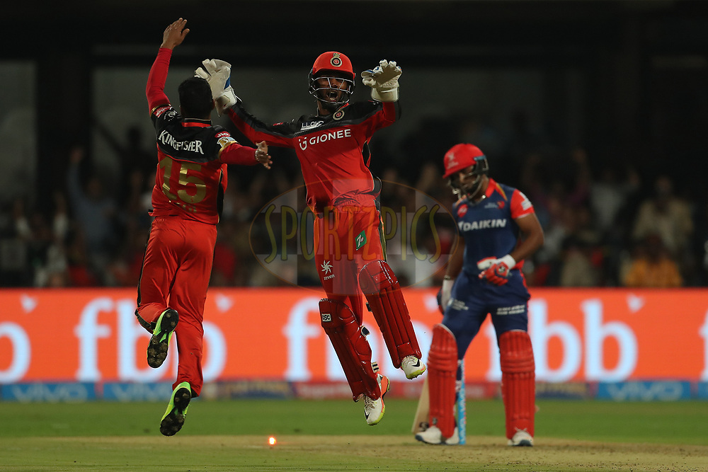Pawan Negi of the Royal Challengers Bangalore /sel/Rishabh Pant of the Delhi Daredevils during match 5 of the Vivo 2017 Indian Premier League between the Royal Challengers Bangalore and the Delhi Daredevils held at the M.Chinnaswamy Stadium in Bangalore, India on the 8th April 2017<br /> <br /> Photo by Ron Gaunt - IPL - Sportzpics