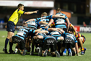Referee Ian Jones in action during todays match.<br /> <br /> Cardiff Arms Park, Cardiff, Wales, UK - Saturday 19th October, 2019.<br /> <br /> Images from the Indigo Welsh Premiership rugby match between Cardiff RFC and Carmarthen Quins RFC. <br /> <br /> Photographer Dan Minto<br /> <br /> mail@danmintophotography.com <br /> www.danmintophotography.com