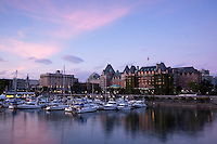 Inner Harbour at Sunset with Empress Hotel in Background, Victoria, BC