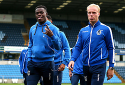 Marc Bola of Bristol Rovers and Ryan Broom of Bristol Rovers arrive at Adam's Park for the Checkatrade Trophy Match against Wycombe Wanderers - Mandatory by-line: Robbie Stephenson/JMP - 29/08/2017 - FOOTBALL - Adam's Park - High Wycombe, England - Wycombe Wanderers v Bristol Rovers - Checkatrade Trophy