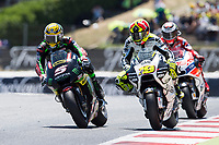 Johann Zarco of France and Monster Yamaha Tech 3 Team and Alvaro Bautista of Spain and PullandBear Aspar Team during the race of  MotoGP of Catalunya at Circuit de Catalunya on June 11, 2017 in Montmelo, Spain.(ALTERPHOTOS/Rodrigo Jimenez)