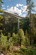 bridge of the gorge of the river Inn, near Scuol, Engadin, Switzerland
